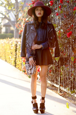 platform boots Costume National boots - moto jacket Nasty Gal jacket