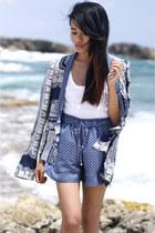 Zara blazer - plain white tee Helmut Lang shirt - Zara shorts