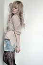 Denim-pull-bear-shorts-lace-h-m-blouse