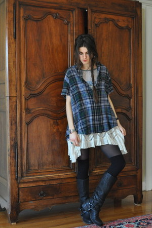 strategia boots - free people dress - vintage embellished flannel shirt