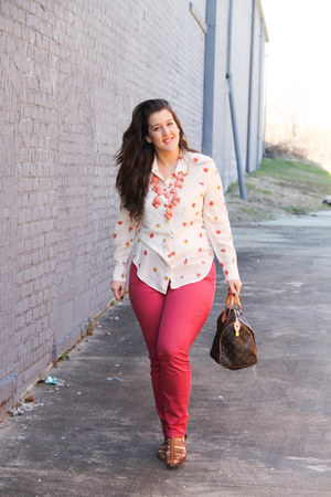 madewell blouse - Loft jeans - Louis Vuitton bag