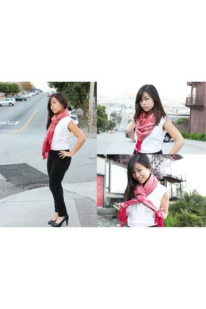 ruby red Flower Bomb scarf - white vintage blouse - black Gap pants