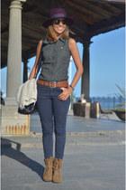 fatherboots boots - Zara hat - Zara bag - Burberry blouse - vintage belt