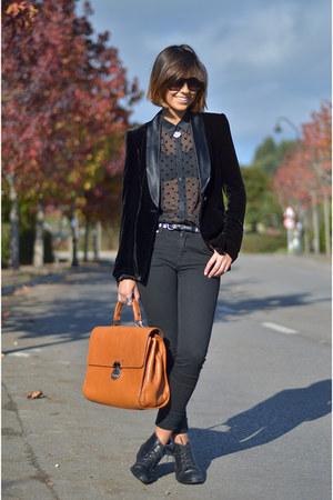 Zara blouse - Urban Outfitters boots - Zara blazer - Zara pants