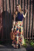 vintage skirt - Old Navy shirt - Dooney and Bourke bag
