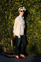 cream knit Urban Outfitters cardigan - light blue banana republic shirt