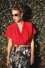 Red-wrap-vintage-blouse-heather-gray-cat-eye-nordstrom-sunglasses