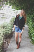 lace up born boots - linen button up Vintage Nordstrom shirt