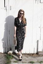 black western print vintage dress - black Cole Haan shoes