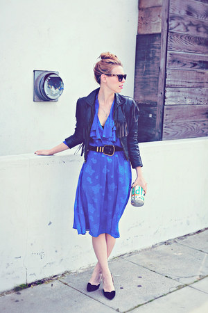 black vintage jacket - blue secretary sheer vintage dress