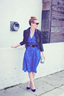 Blue-secretary-sheer-vintage-dress-black-vintage-jacket