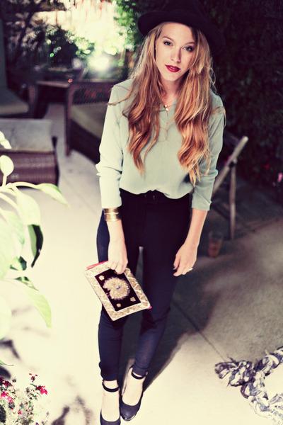 light blue ribbed vintage blouse - maroon velvet clutch vintage purse
