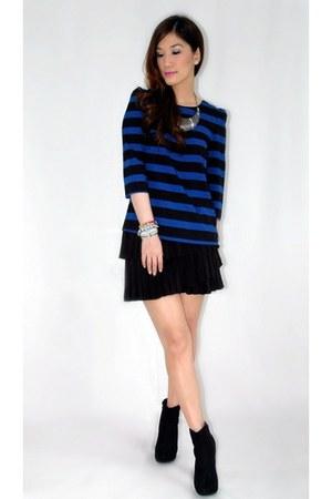 black Zara skirt - black Forever 21 boots - blue Zara top