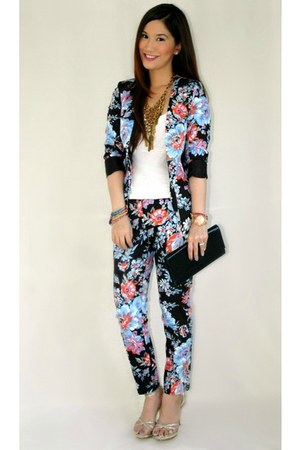 black asos blazer - black YSL bag - black asos pants - white Forever 21 top