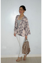 pink H&M jacket - beige Givenchy bag - white Forever 21 pants