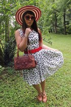 vintage dress - liz claiborne hat - vintage purse - PacSun sunglasses