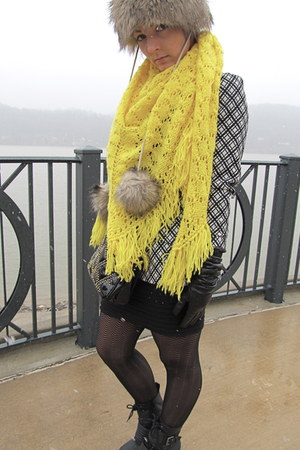 yellow handmade vintage scarf - black Rocketdog boots - Faux fur hat