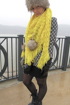yellow handmade vintage scarf - black Rocketdog boots - Faux fur hat
