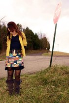 thrifted vintage skirt - boots - Forever21 cardigan - thrifted belt