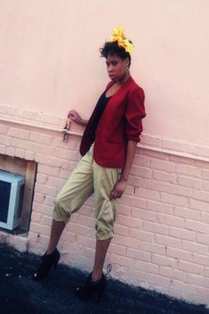 red Thrift Store blazer - black wild divacharming charlies shoes - beige new yor