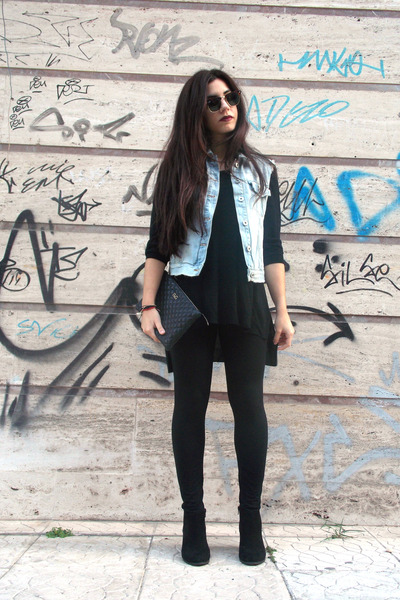 black pull&bear boots - black H&M leggings - black clutch Dolce & Gabbana bag