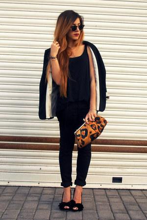 black Zara jacket - black H&M pants - black Dolce& Gabbana heels - black H&M top
