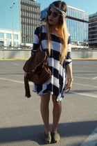 olive green TOMS shoes - striped dress - brown Dolce & Gabbana bag