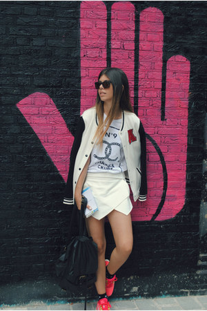 white Bershka jacket - white Zara skirt - hot pink nike sneakers