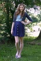 navy polka dot Nordstrom skirt - light blue floral print Target top