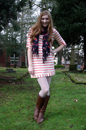 red striped Nordstrom dress - light pink H&M tights