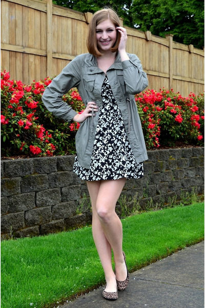 dark khaki Nordstrom jacket - black butterfly Nordstrom Rack dress