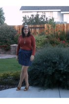 burnt orange kohls shirt - navy Gap skirt - ivory Target accessories