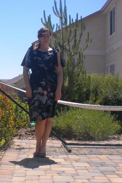 black thrifted dress - heather gray Candies heels