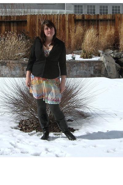 black Target boots - eggshell H&M dress - black Express shirt - gray HUE tights