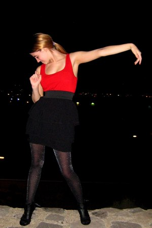 black shiny Wet Seal tights - red Target dress - black Payless heels