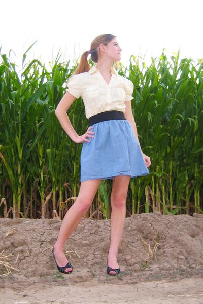 4bfb0c934aae sky blue Wet Seal skirt - cream thrifted shirt - black Payless heels