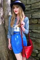 white worn as a top thrifted dress - blue DIY skirt