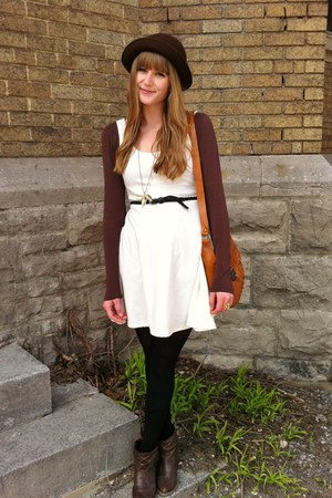 white thrifted dress - dark brown Aldo boots - tawny leather thrifted bag