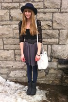 lace thrifted dress - thrifted bag - DIY skirt