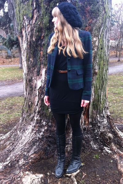 dark green plaid Gap blazer - black thrifted dress - black Aldo hat