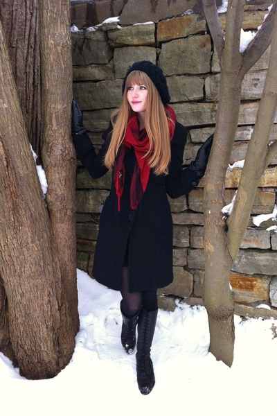 black vintage boots - black thrifted coat - black Aldo hat - ruby red gift scarf