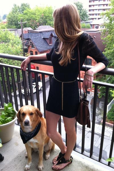 lace thrifted dress - thrifted bag - gold vintage bracelet