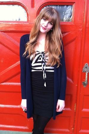 navy wool Gap cardigan - black Smartset skirt - white striped thrifted top