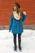 black Talula dress - blue Forever 21 coat - white infinity thrifted scarf