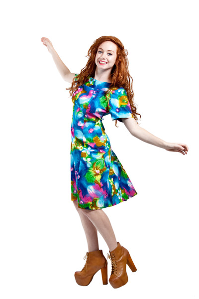 watercolor 60s vintage dress
