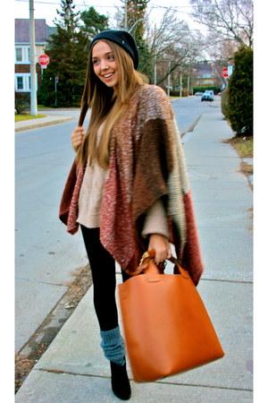 camel sdgf bag - wool Nordstrom sweater - black tights tailored leggings