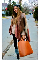 camel sdgf bag - wool Nordstrom sweater - black tights tailored leggings