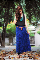 black sheer scalloped Sachico Shop top - navy denim maxi Simones Closet skirt