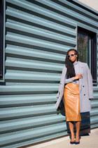 leather asos skirt - H&M shirt - Zara pumps