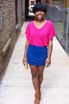 gold clutch H&M purse - tawny AJ Wright sandals - hot pink scoop-v-neck Forever